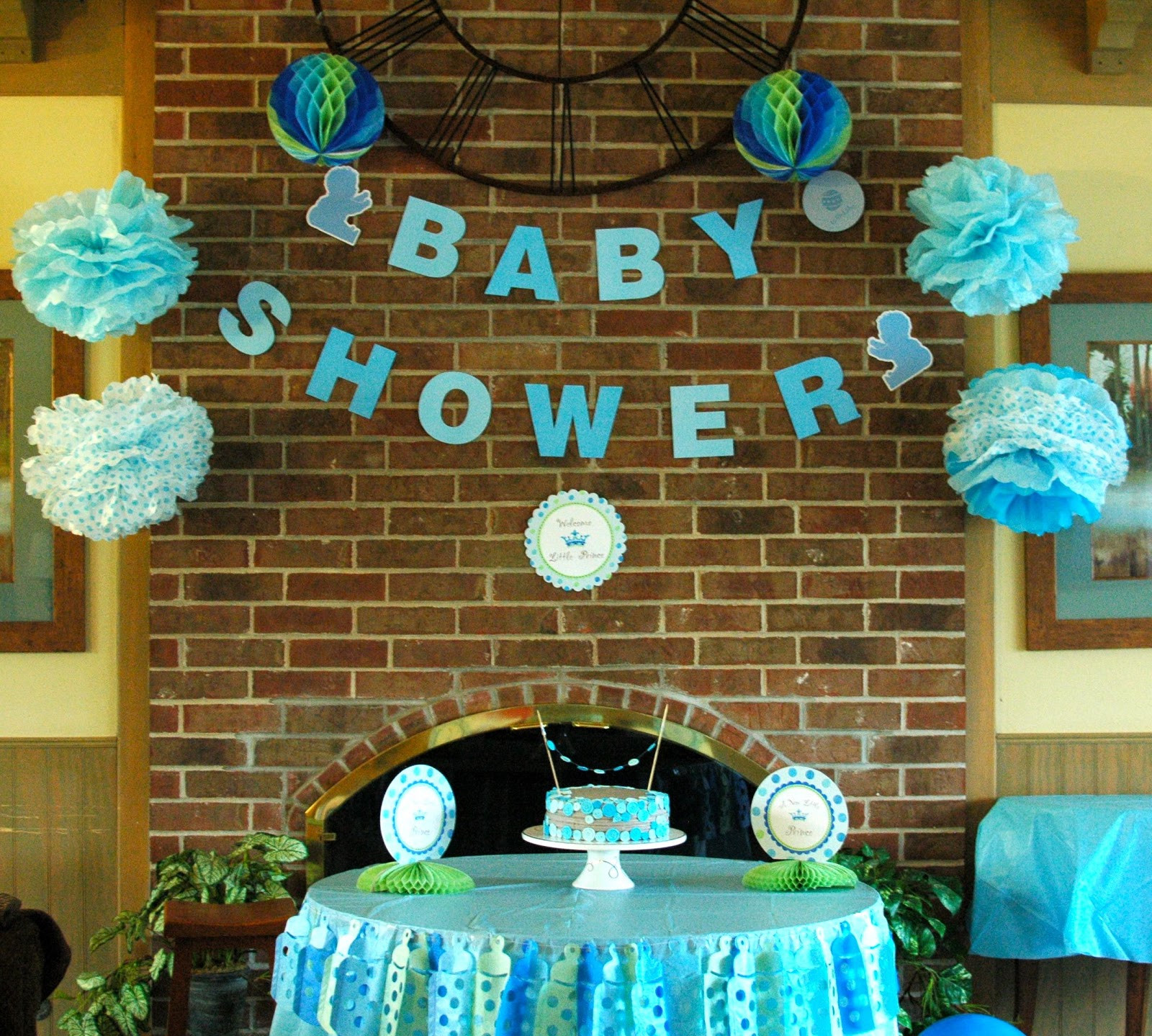 Baby Shower Decoration Ideas At Home  TurtleCraftyGirl Cute As a Button Baby Shower Cake