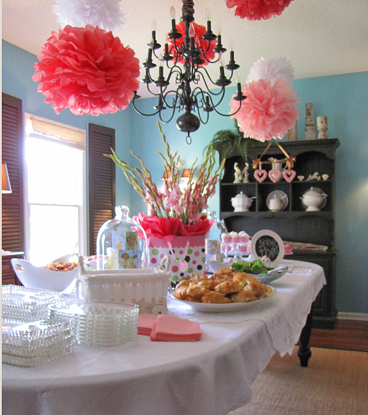 Baby Shower Decoration Ideas At Home  Goodbye House Hello Home Blog Pink and Aqua Baby