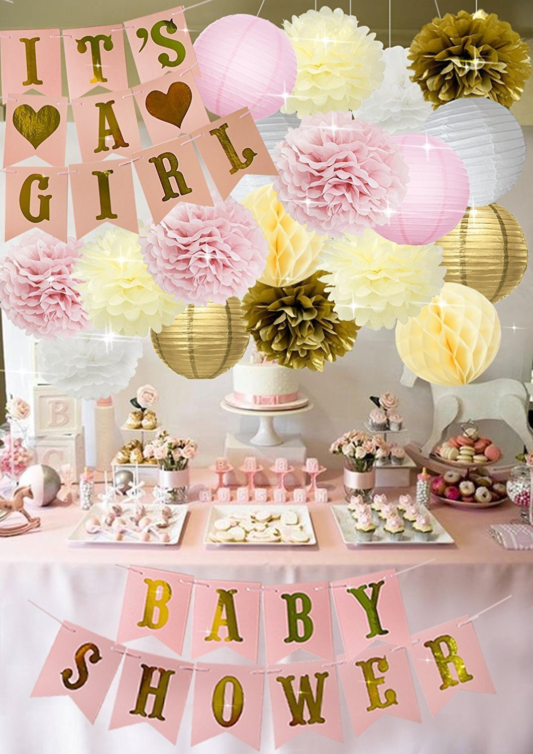 Baby Shower Decoration Ideas For A Girl  Baby Shower Decorations BABY SHOWER IT S A GIRL Garland