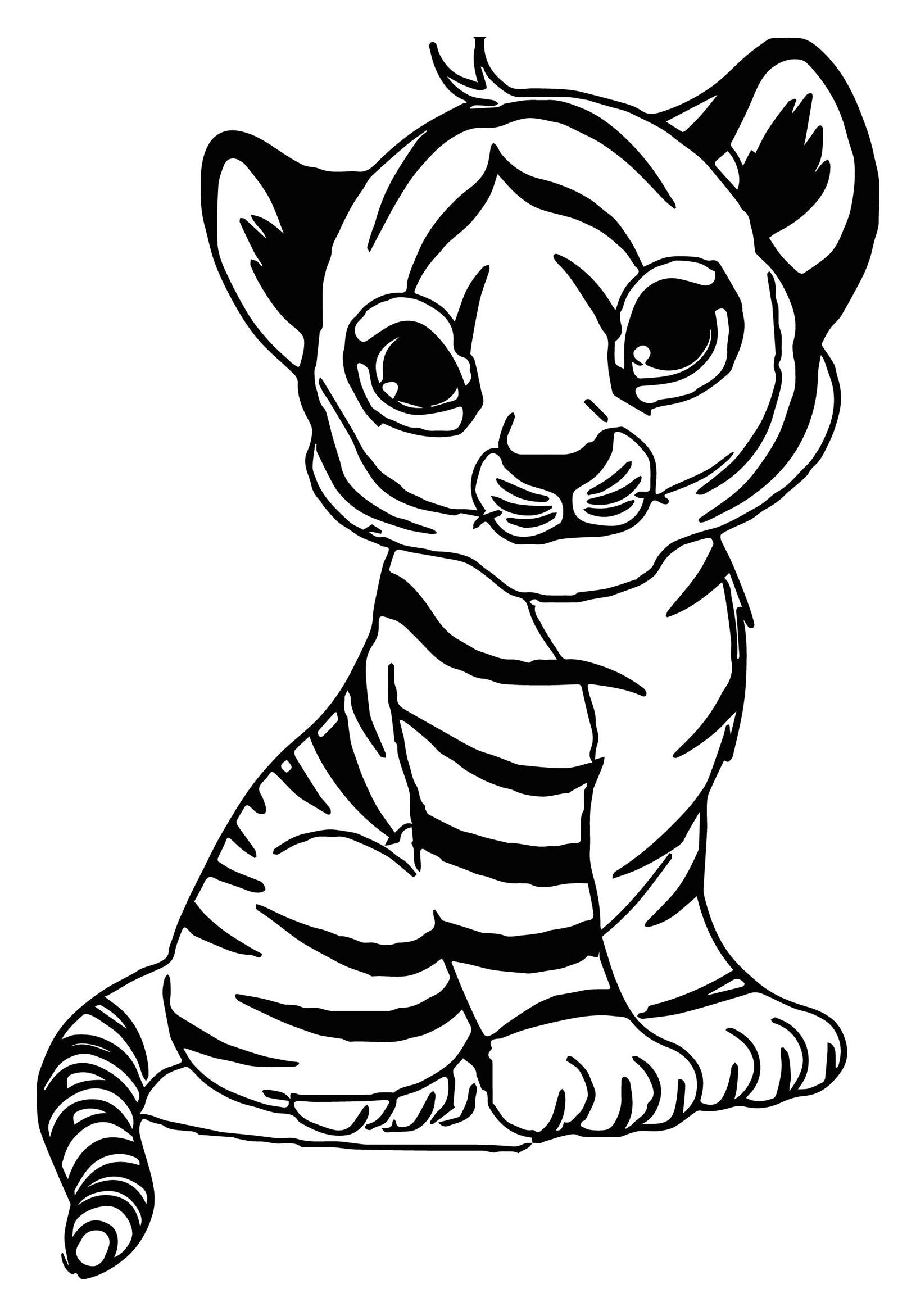 Baby Tiger Coloring Pages  Tigers to print for free Tigers Kids Coloring Pages