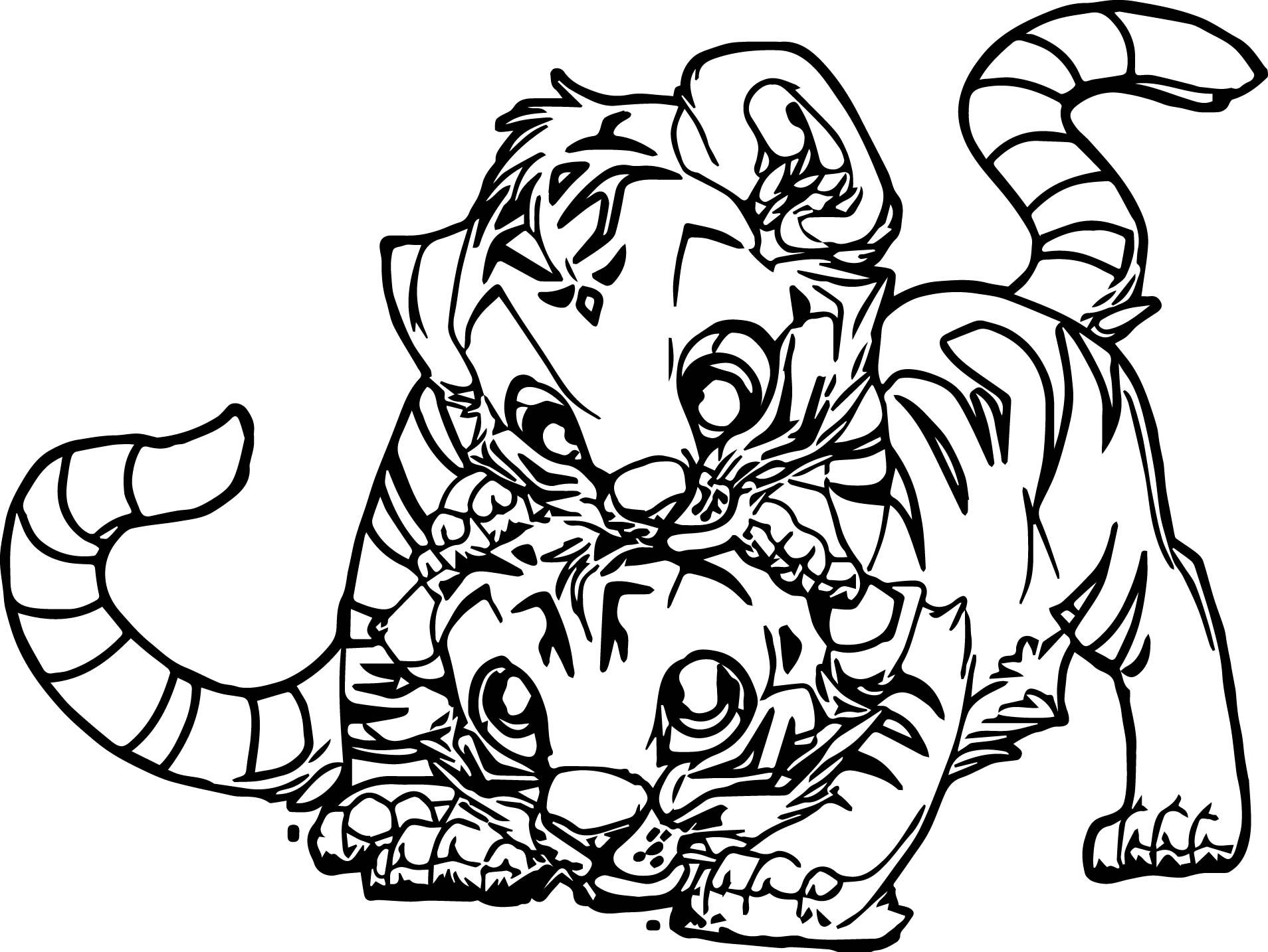 Baby Tiger Coloring Pages  Two Baby Tiger Coloring Page