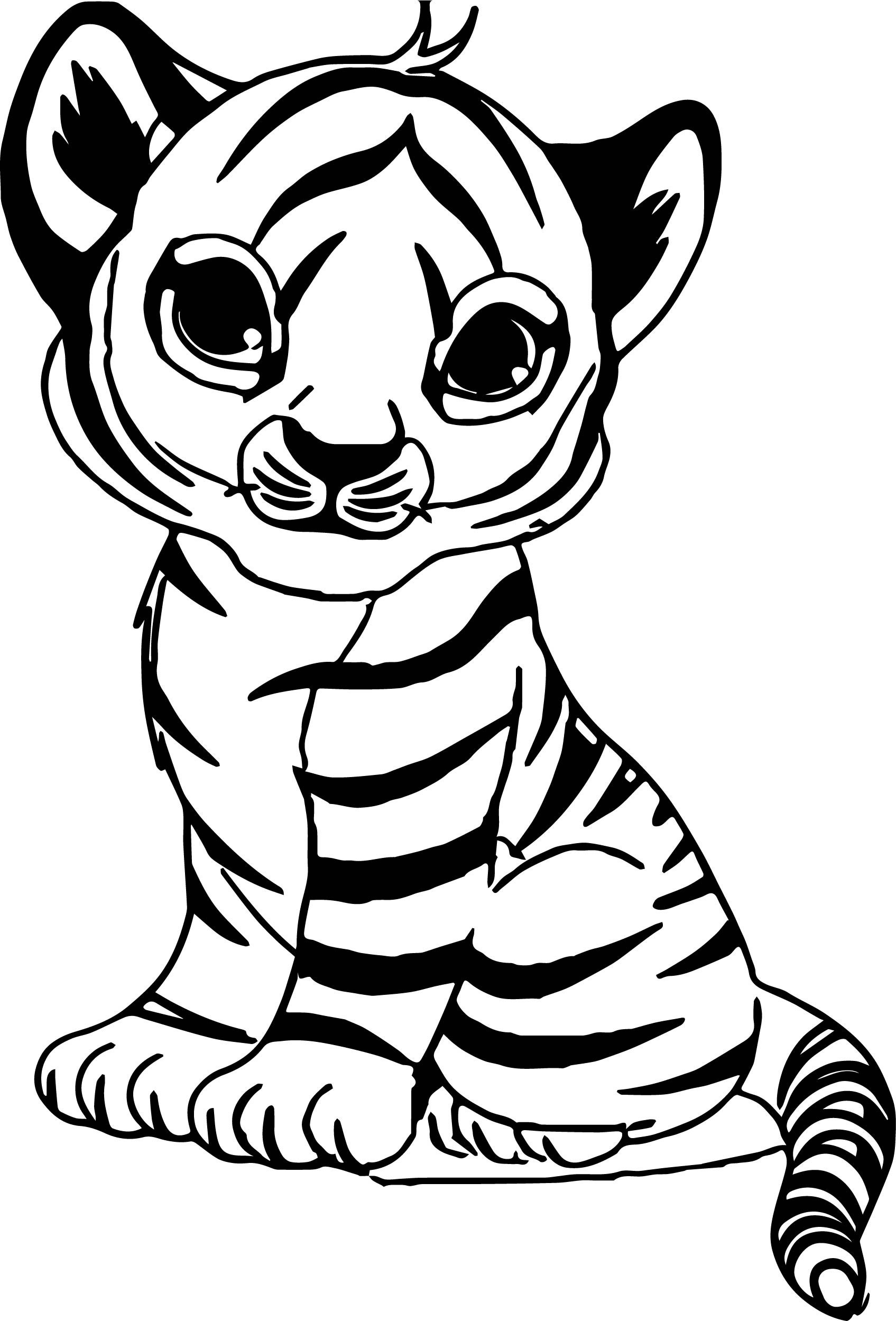Baby Tiger Coloring Pages  Black White Coloring Pages at GetColorings