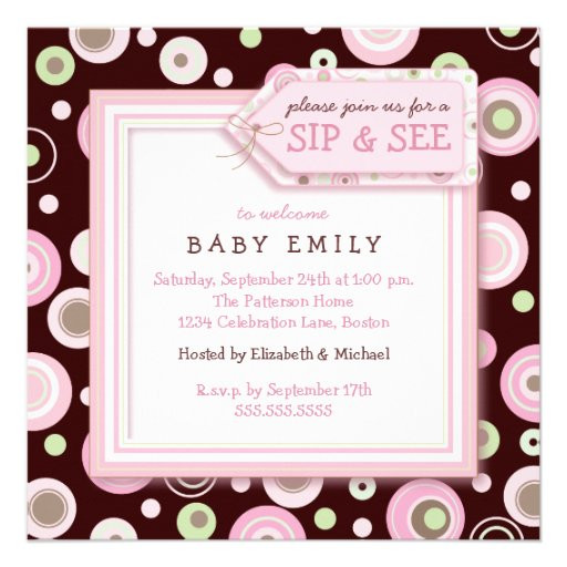 Baby Welcome Party Invitation  Happy Dot Sip and See New Baby Wel e Invitation 5 25