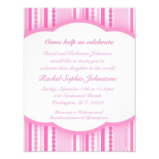 """Baby Welcome Party Invitation  Wel e baby girl pink party photo invitation card 4 25"""" x"""