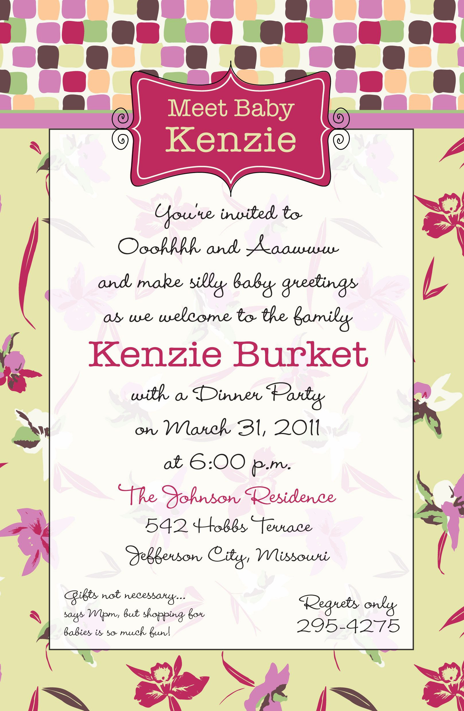 Baby Welcome Party Invitation  Wel e Baby Invitation