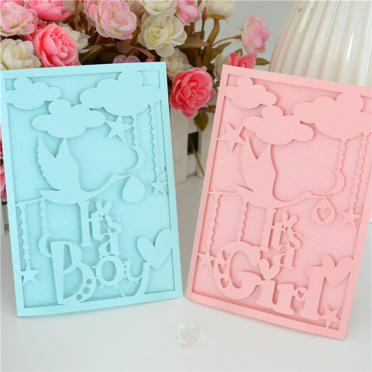 Baby Welcome Party Invitation  Wel e new baby invitation card laser cut boy girl for