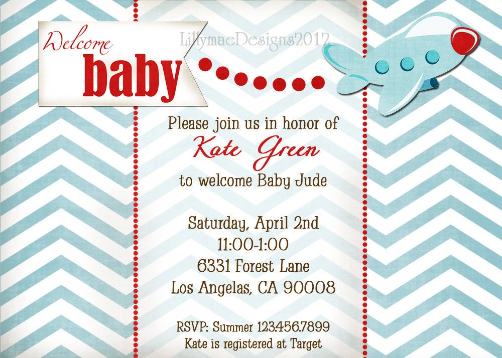 Baby Welcome Party Invitation  Airplane Baby Shower Invitation Wel e Baby by