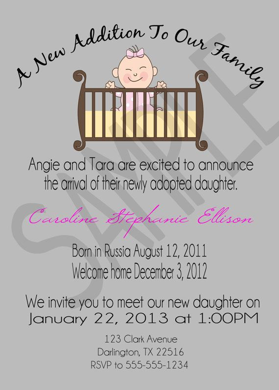 Baby Welcome Party Invitation  Adoption Announcement Open House Invitation by