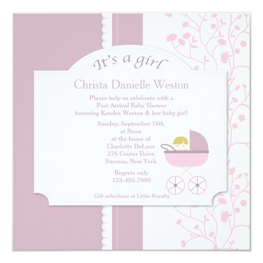 Baby Welcome Party Invitation  Wel e Baby Girl Shower Invitation