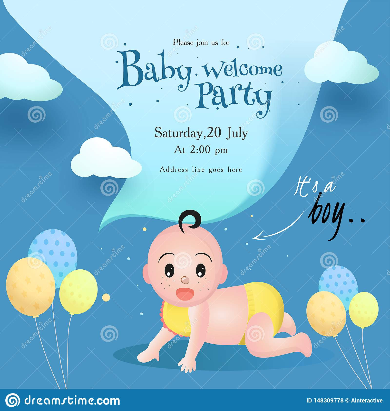 Baby Welcome Party Invitation  Baby Wel e Party Invitation Card Design With Cute Little