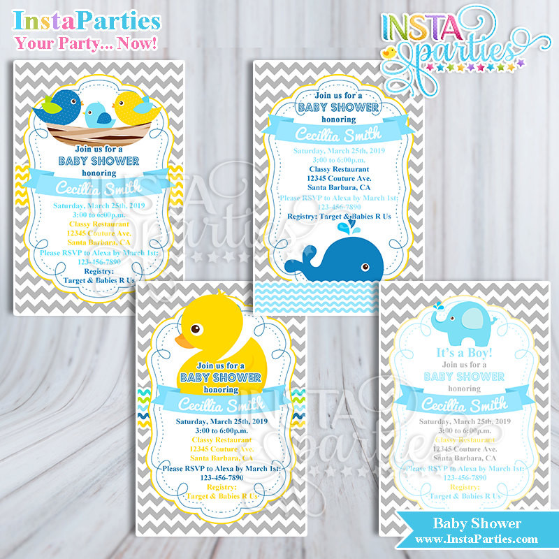 Baby Welcome Party Invitation  Baby Shower Invitations Boy Rubber Ducky Yellow Wel e