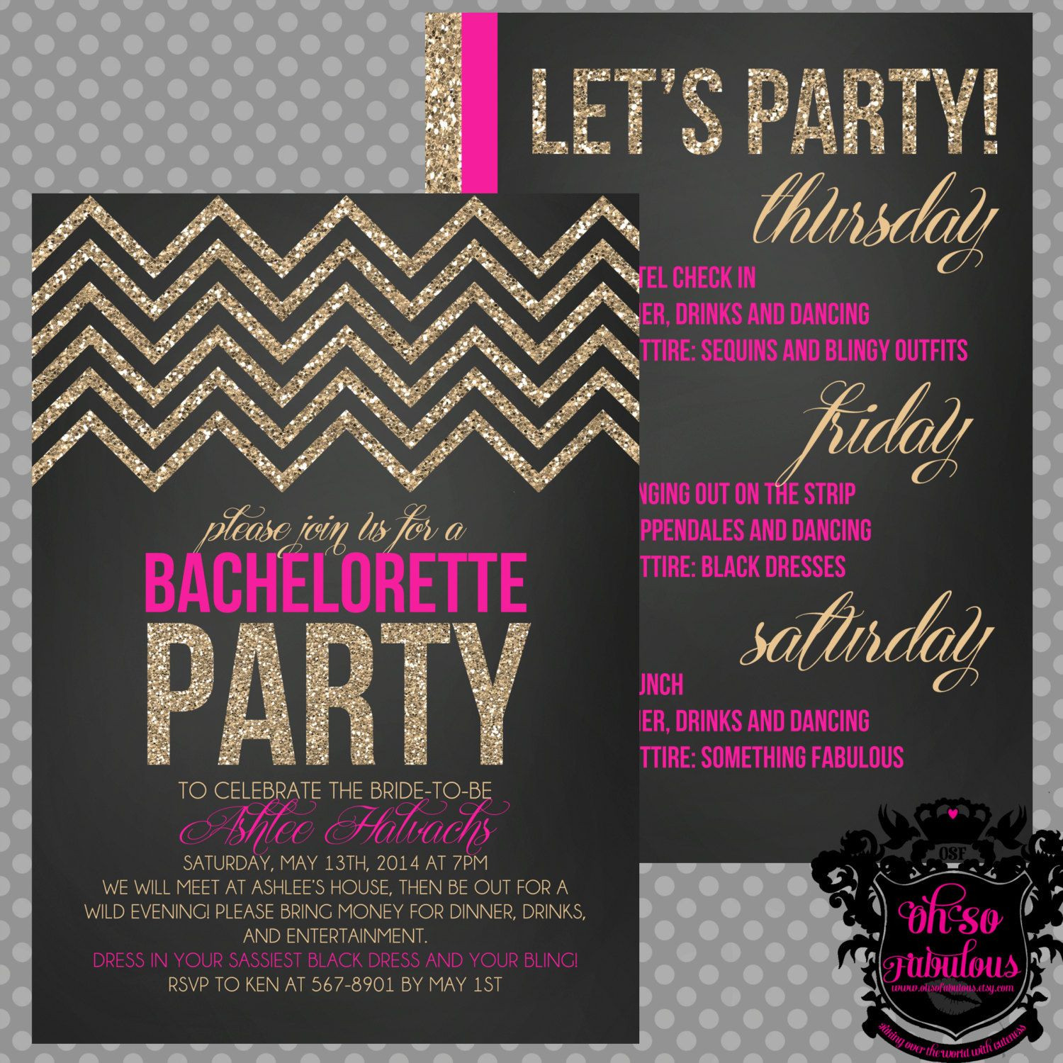 Bachelorette Party Invitation Ideas  Glitter Chevron Double Sided Bridal Shower by