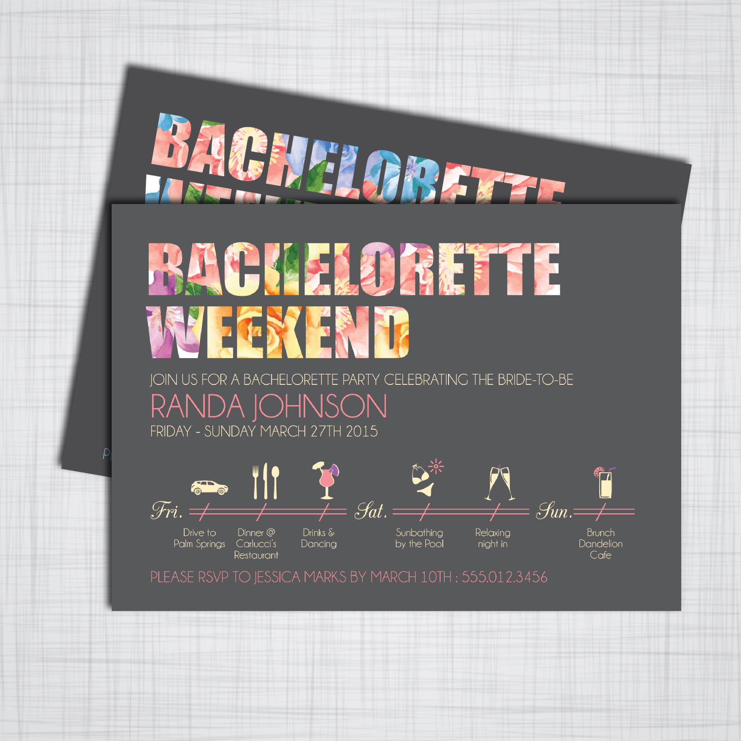 Bachelorette Party Invitation Ideas  Bachelorette Party Weekend DIY Printable Invitations with
