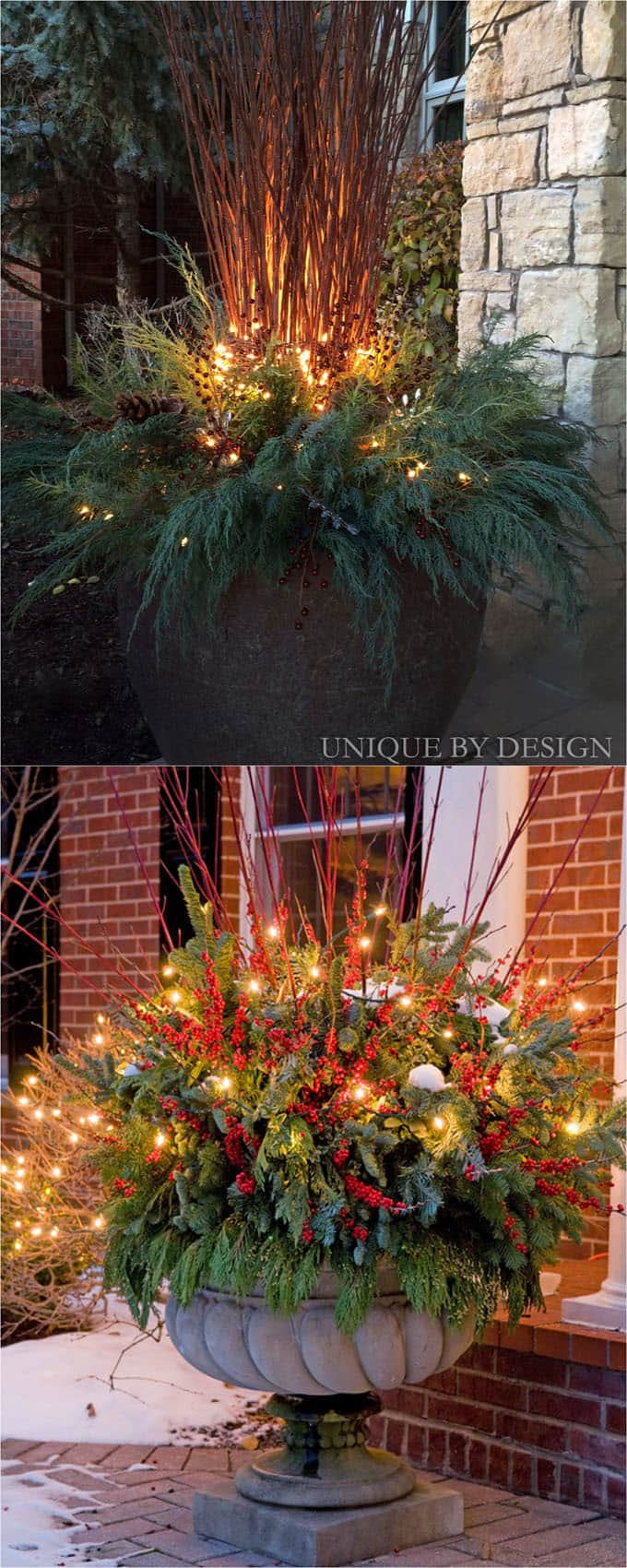 Backyard Christmas Decorations  24 Colorful Winter Planters & Christmas Outdoor