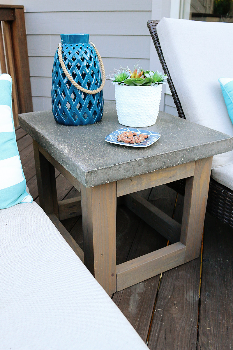 Backyard Table Ideas  Concrete & Wood Outdoor Side Table Bower Power