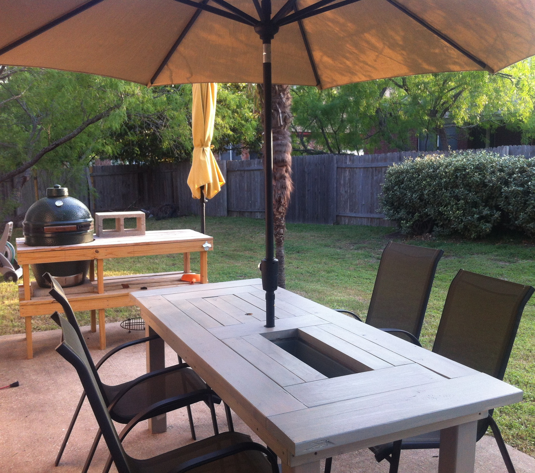 Backyard Table Ideas  Patio Table with Built in Beer Wine Coolers