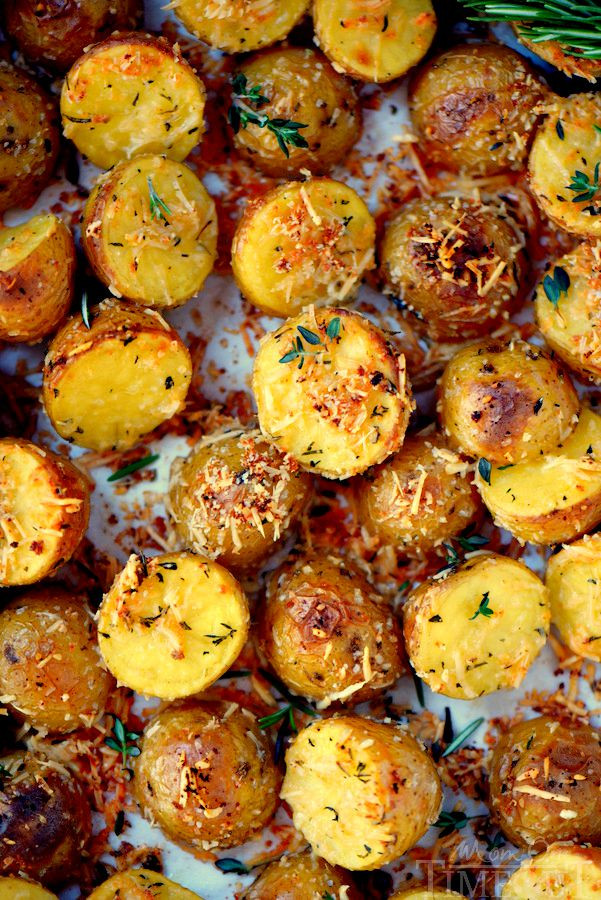 Baked Potato Recipe Oven  Oven Roasted Herb and Garlic Parmesan Potatoes Mom