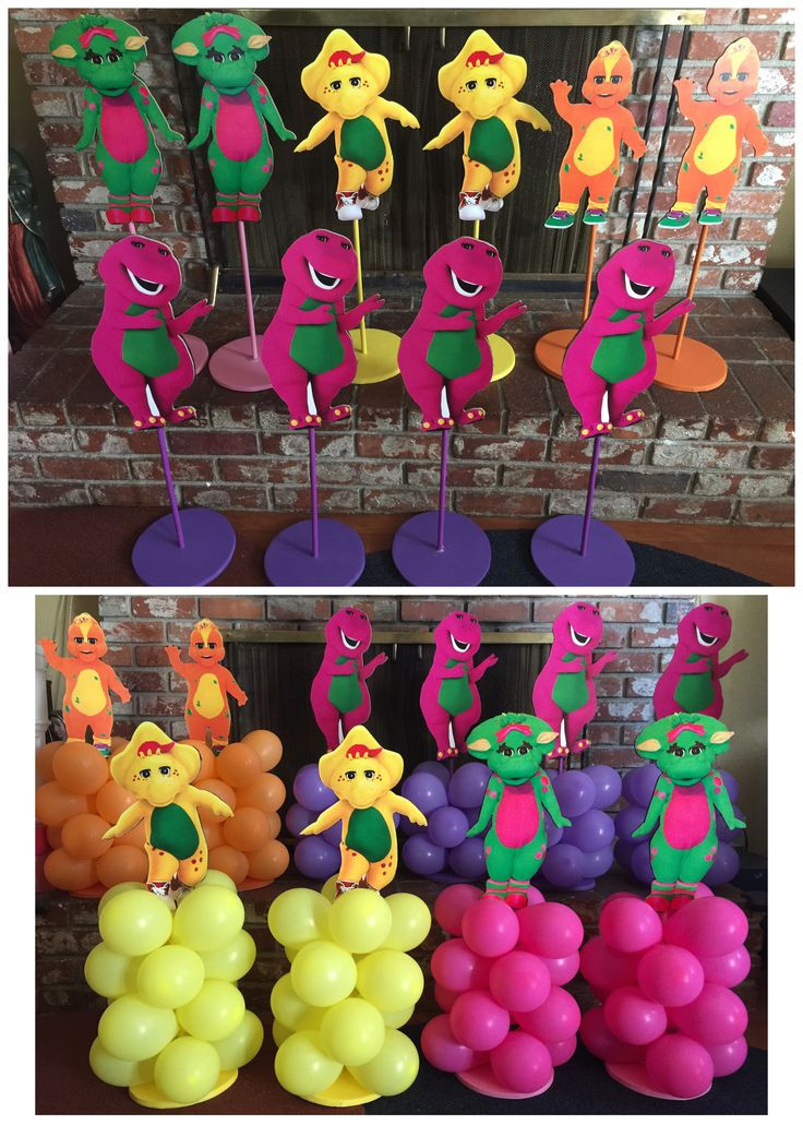 Barney Birthday Party Decorations  Barney & Friends balloon stands Barney Centerpieces