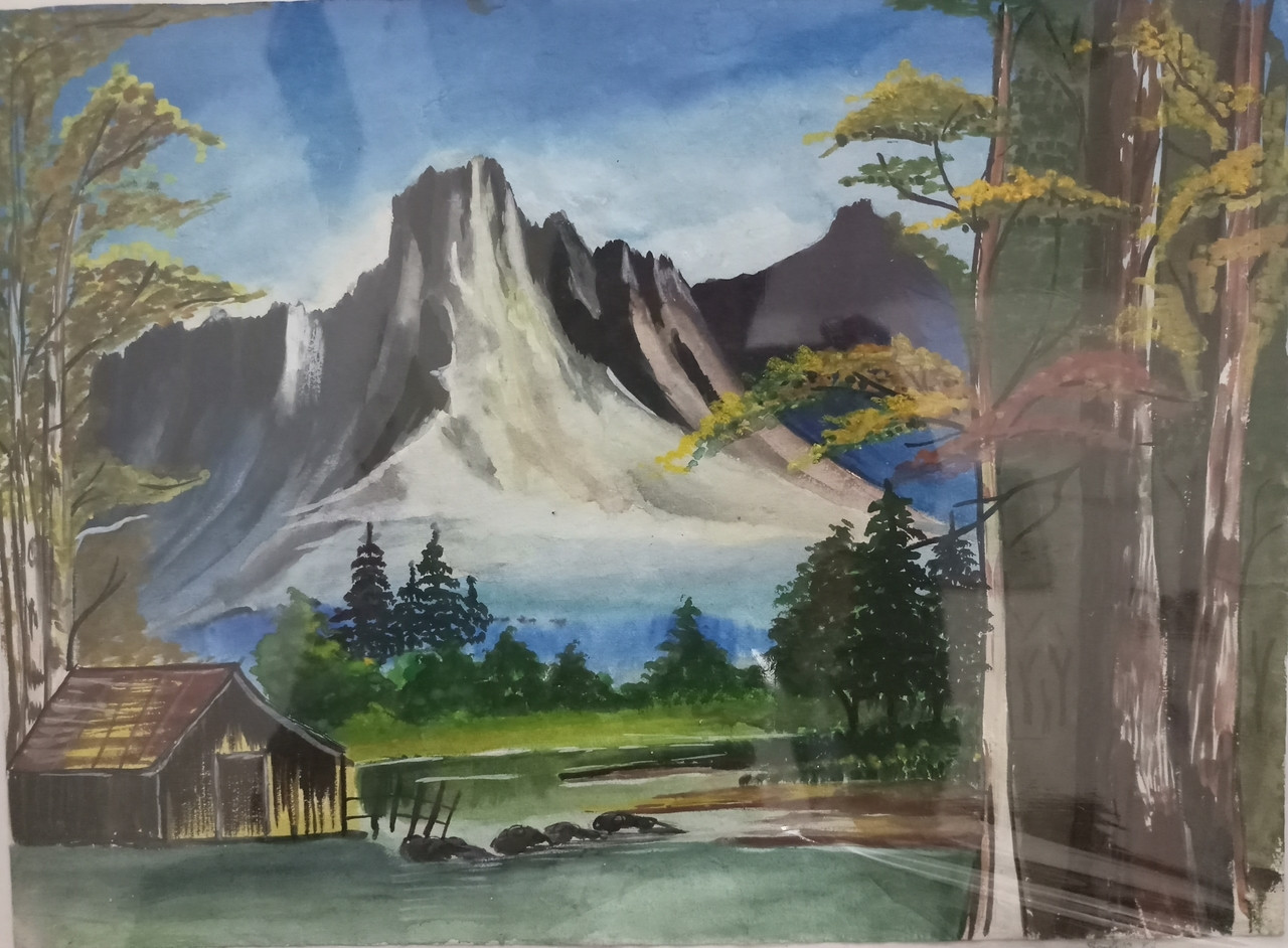 Beautiful Landscape Paintings  Buy Beautiful Landscape Mountain with Lakeview Handmade