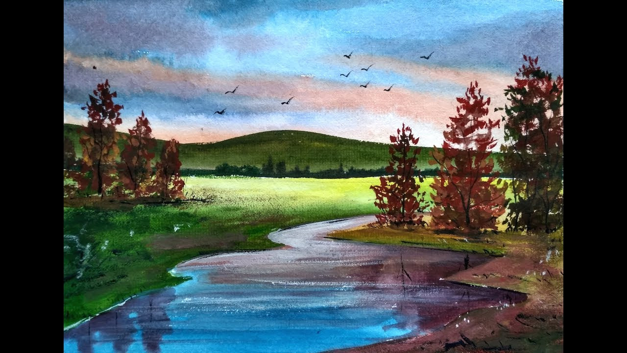 Beautiful Landscape Paintings  Painting Beautiful Watercolor Landscapes with Ghanashyam
