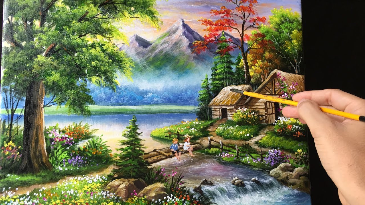 Beautiful Landscape Paintings  Painting a Beautiful Mountain Landscape with Acrylics