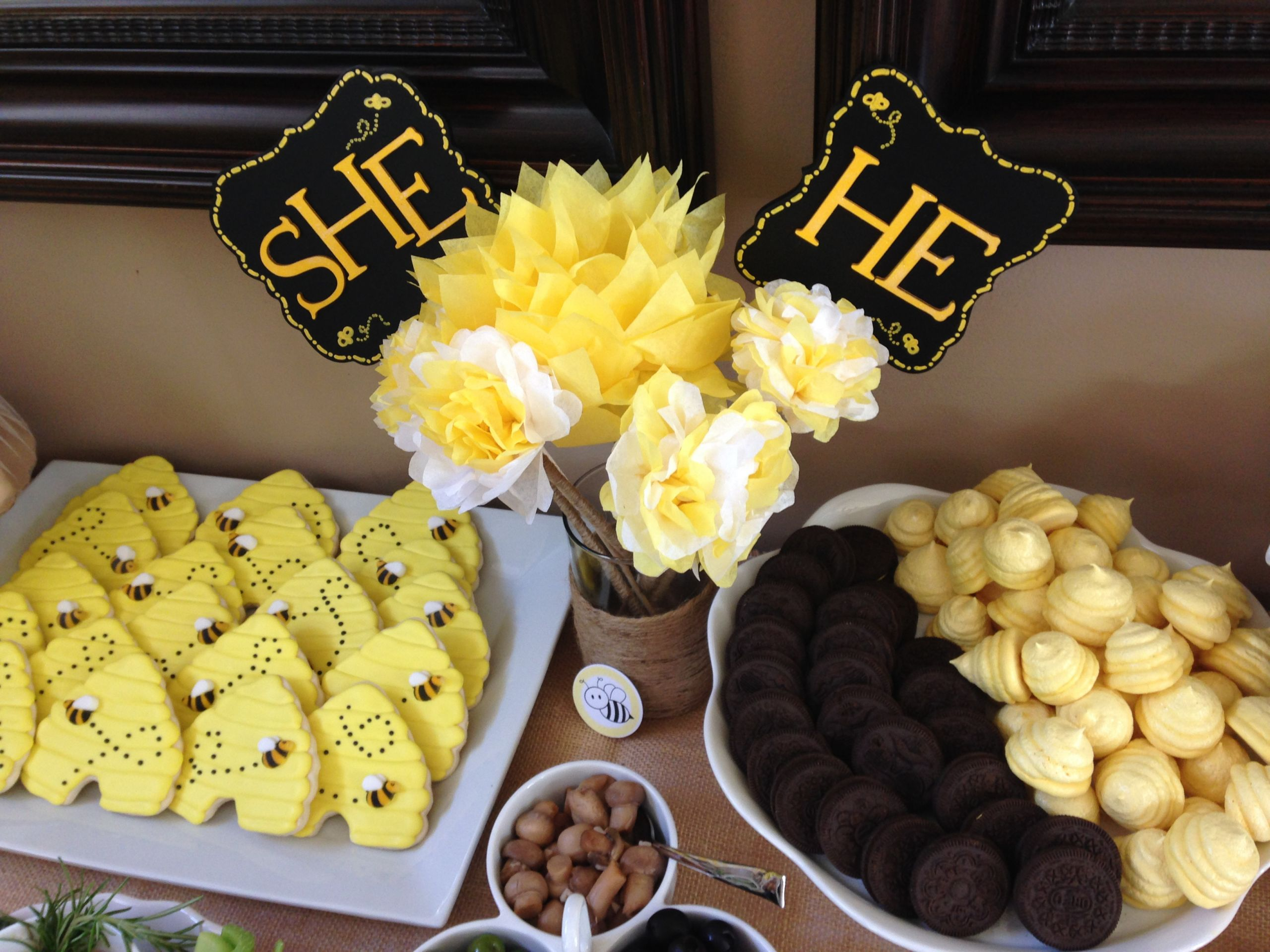 Bee Gender Reveal Party Ideas  Our bumble bee themed gender reveal party