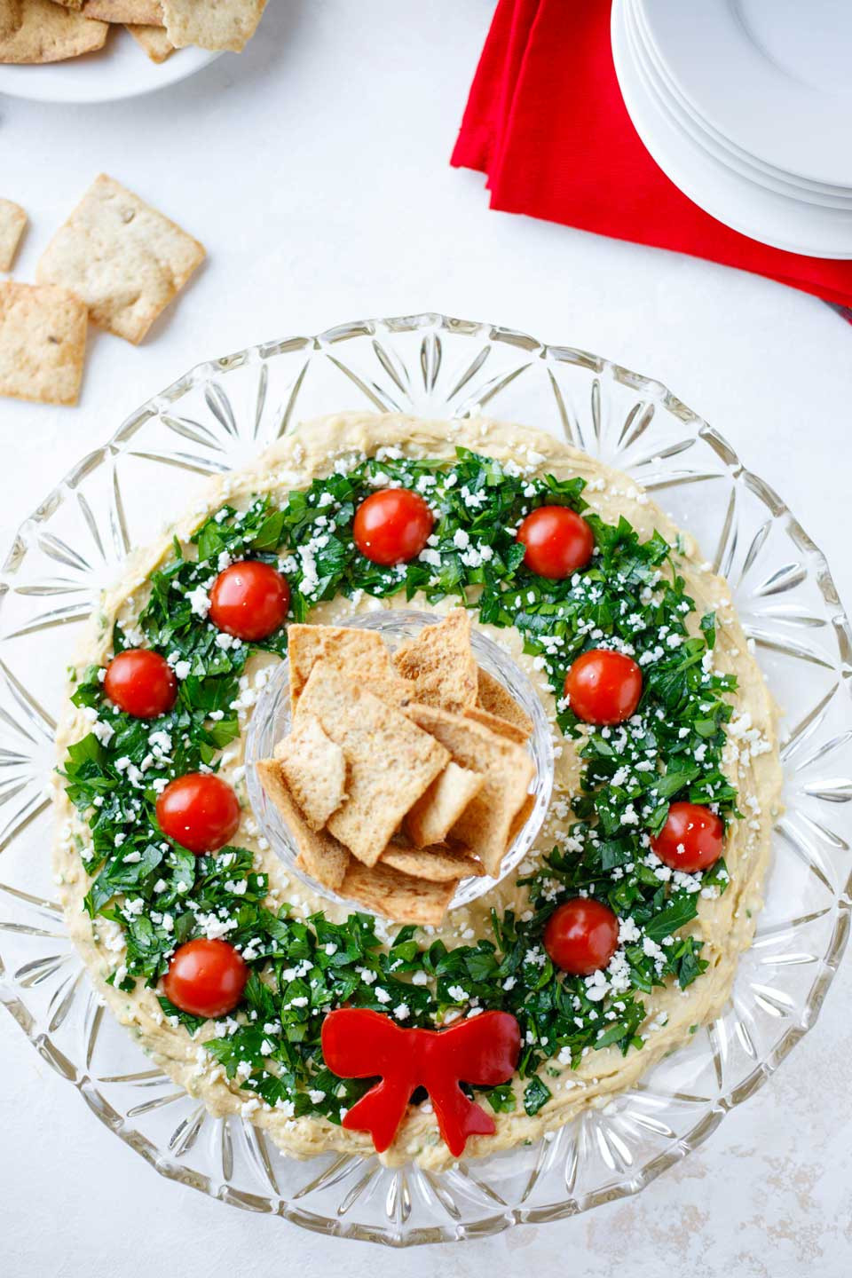 """Best Christmas Party Appetizers  Easy Christmas Appetizer """"Hummus Wreath"""" Two Healthy"""