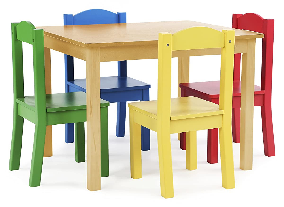 Best Kids Table  Tot Tutors Kids Wood Table and 4 Chairs Set Natural