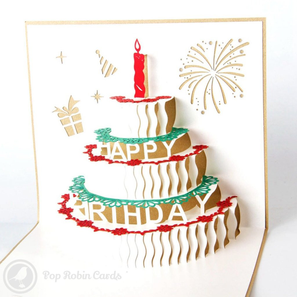 Birthday Cake Cards  Birthday Cake with Candles 3D Pop Up Birthday Greeting