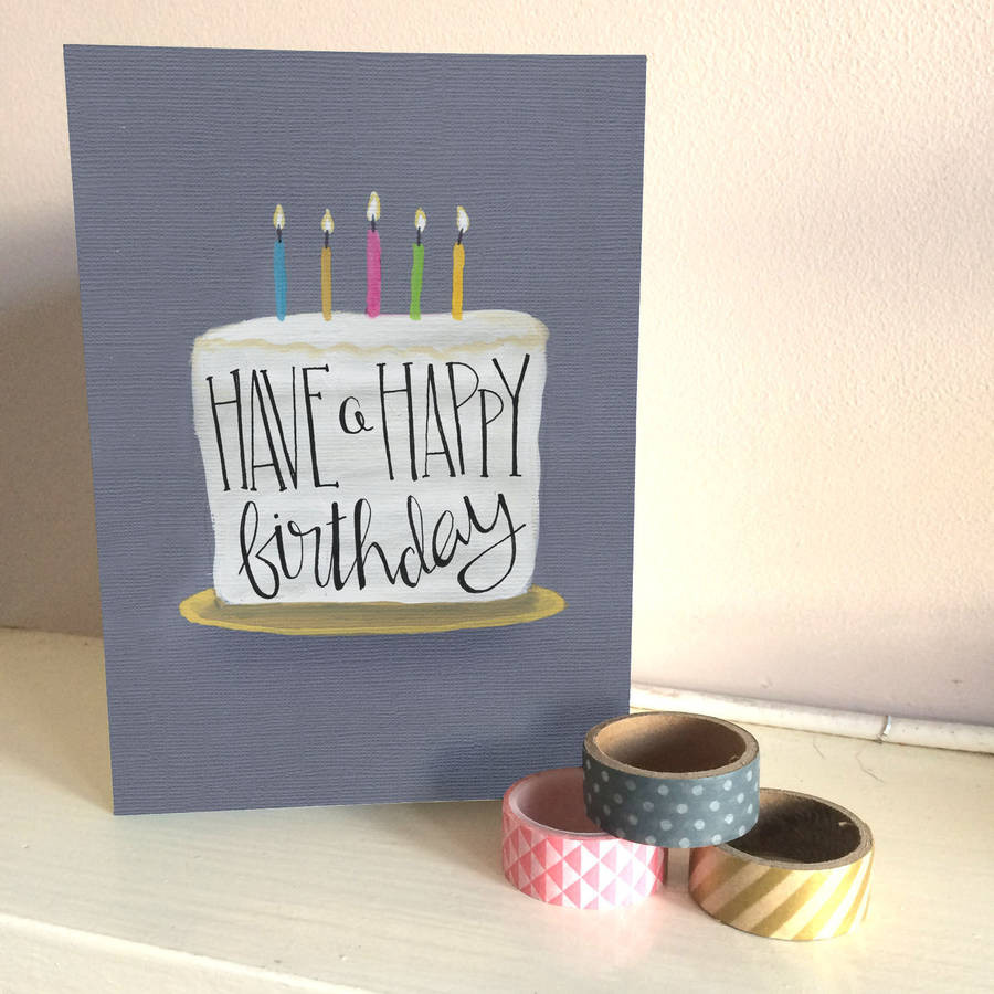 Birthday Cake Cards  Happy Birthday Cake Card By The Little Posy Print pany