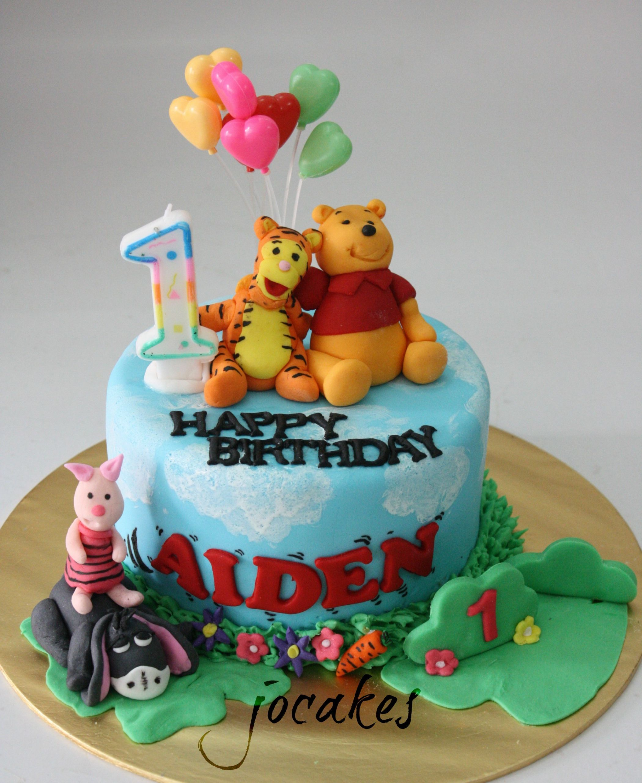 Birthday Cake For 1 Year Old  Winnie the Pooh and friends cake for 1 year old boy Aiden