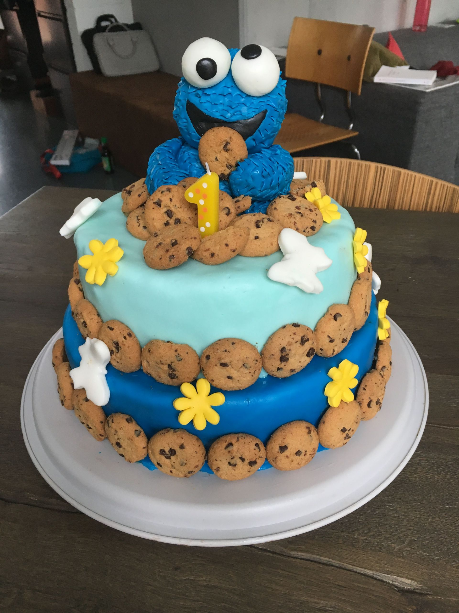 Birthday Cake For 1 Year Old  Cookie Monster birthday cake for my 1 year old baby boy