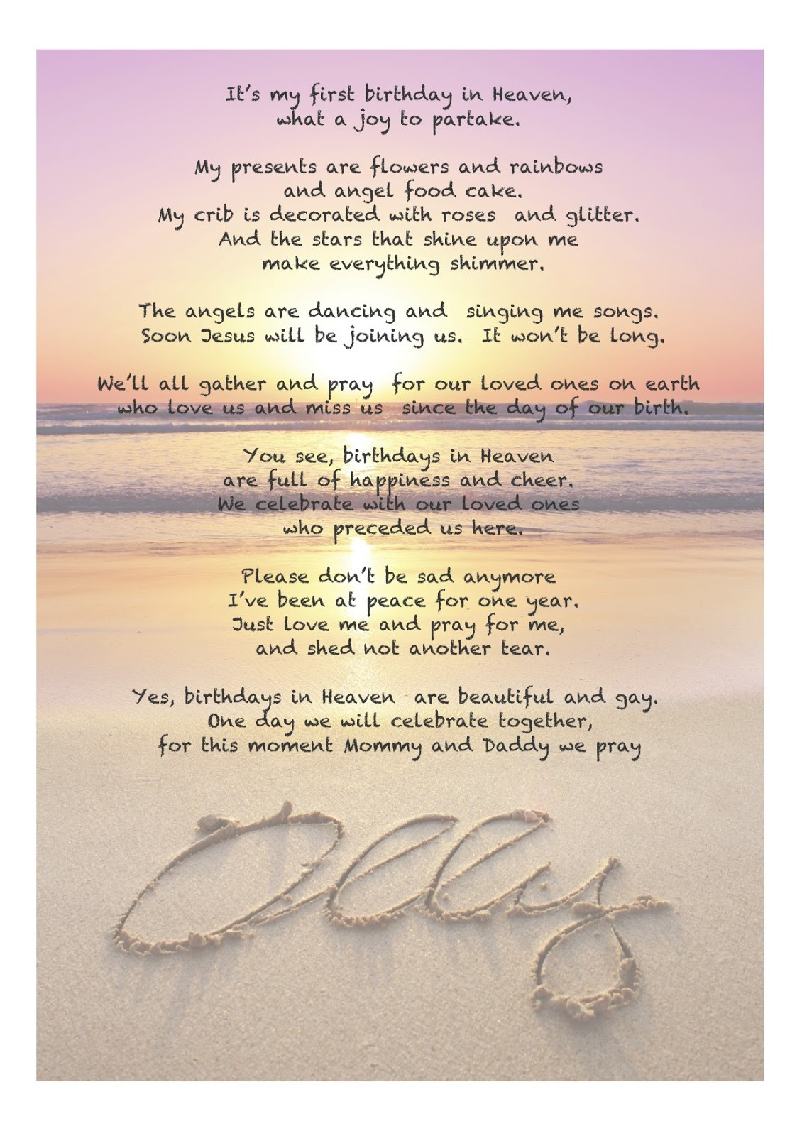 Birthday In Heaven Wishes  Birthday In Heaven Poems Quotes QuotesGram