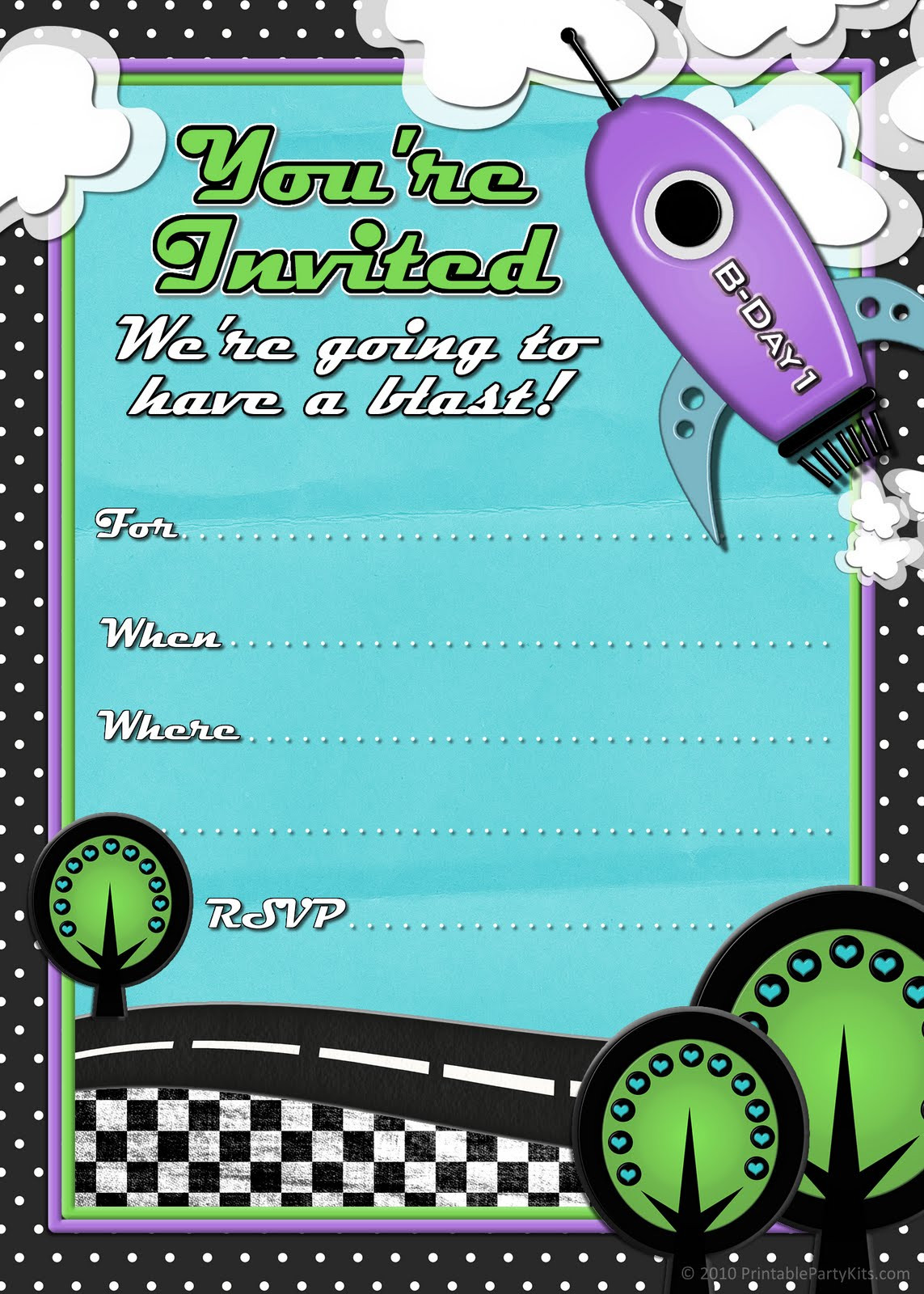 Birthday Party Invitations For Kids  41 Printable Birthday Party Cards & Invitations for Kids