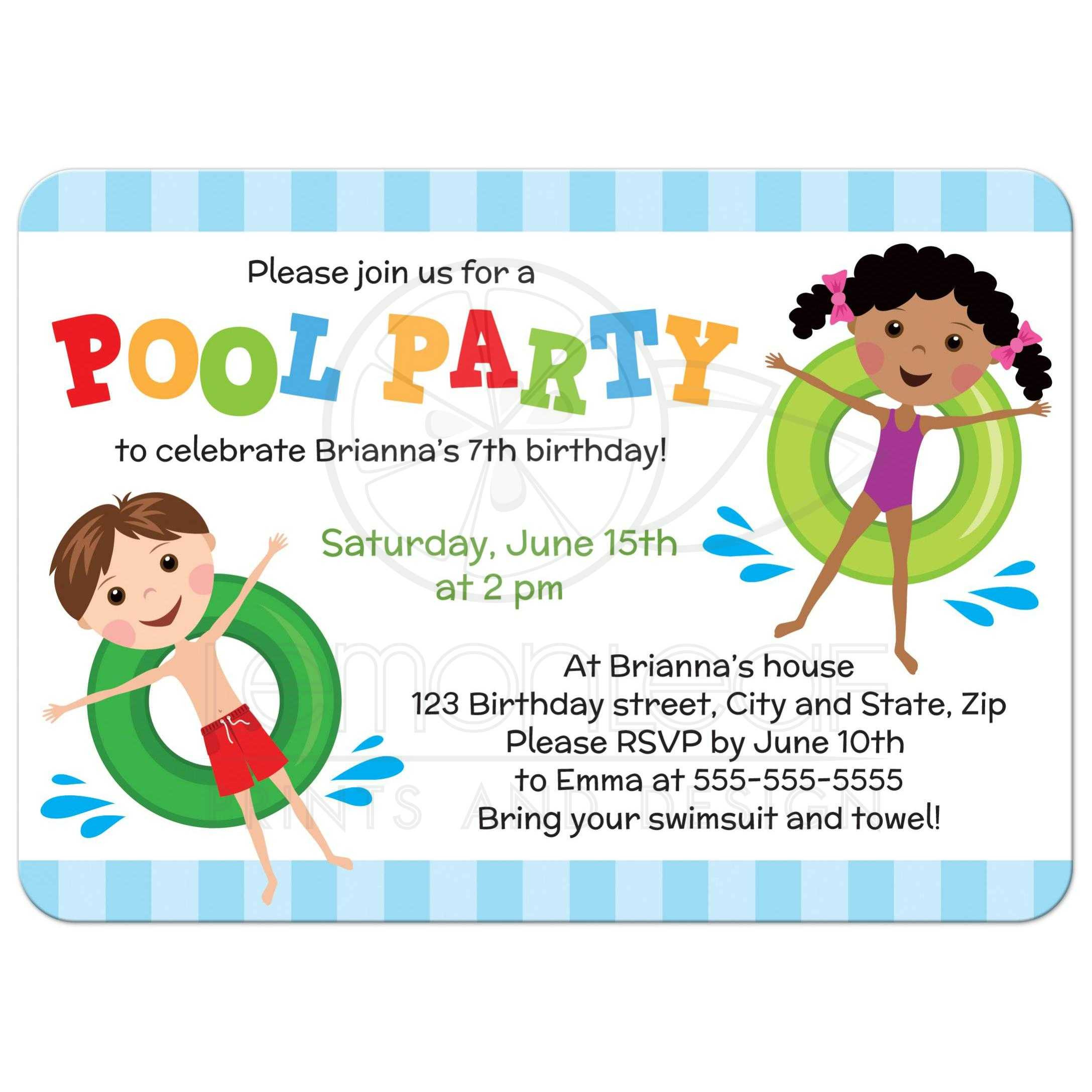 Birthday Party Invitations For Kids  Pool birthday party invitation for kids boy and girl on