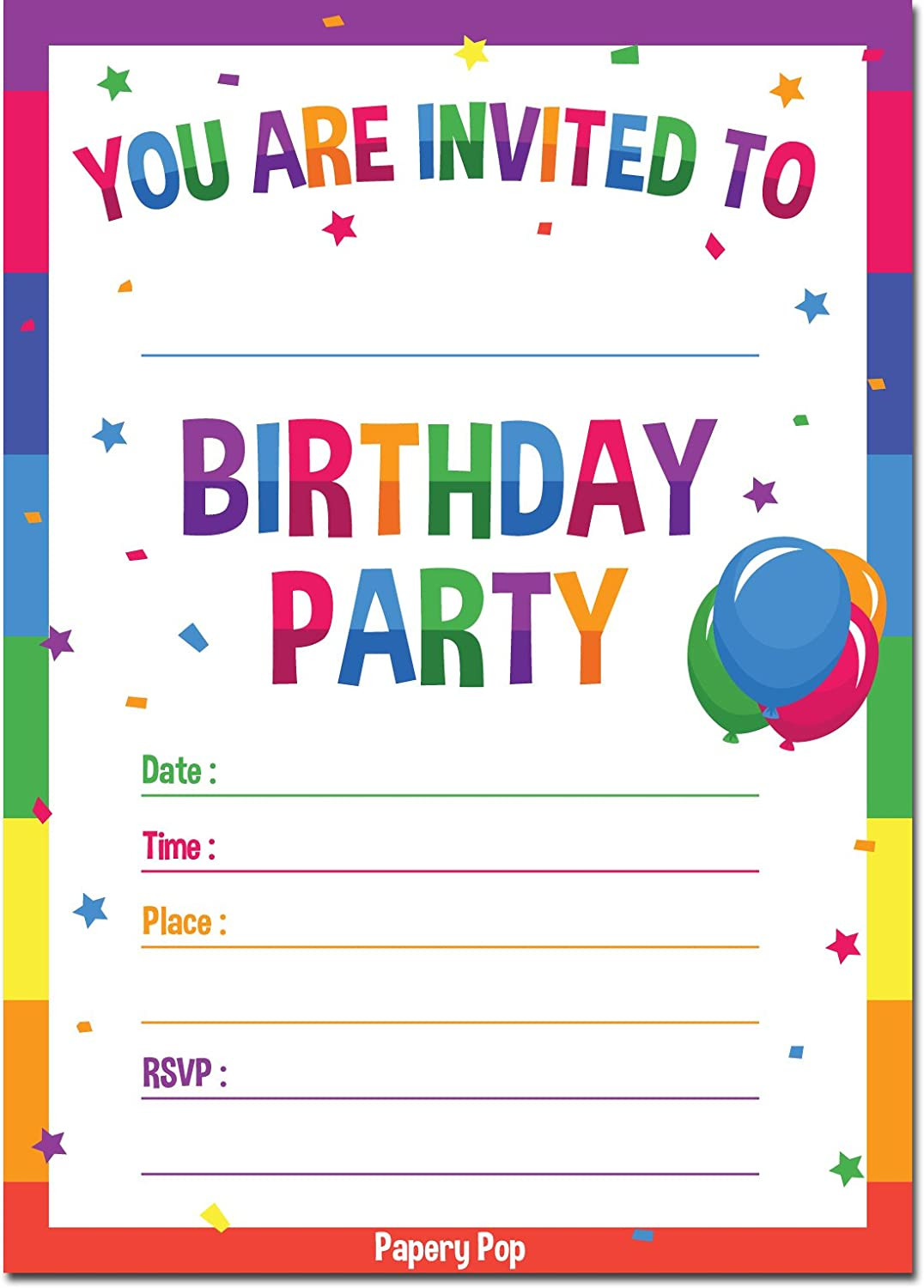Birthday Party Invitations For Kids  30 Birthday Invitations with Envelopes 30 Pack Kids