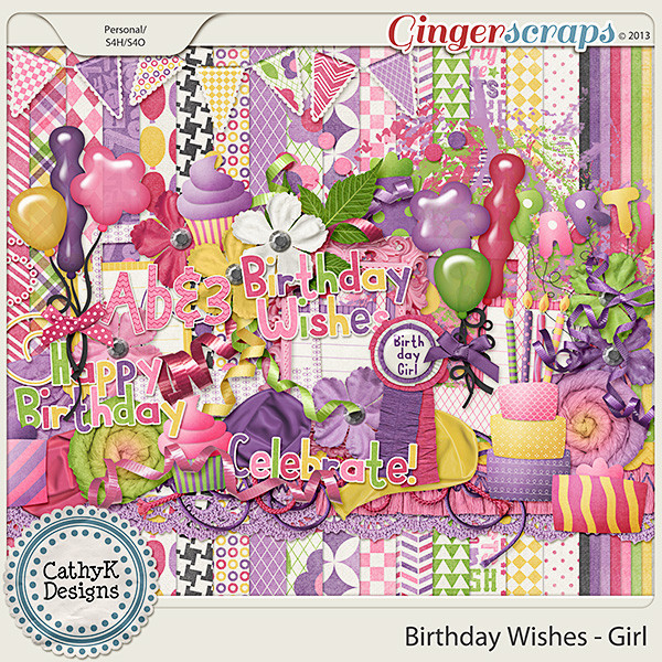 Birthday Wishes For Girl  GingerScraps Kits Birthday Wishes Girl Kit