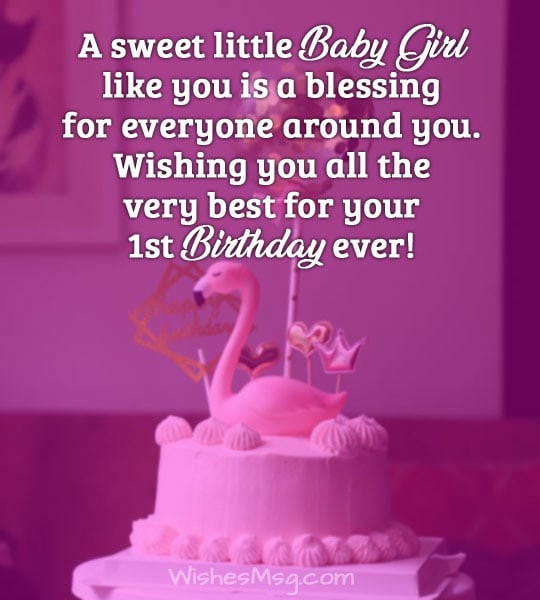 Birthday Wishes For Girl  First Birthday Wishes and Messages For Baby WishesMsg