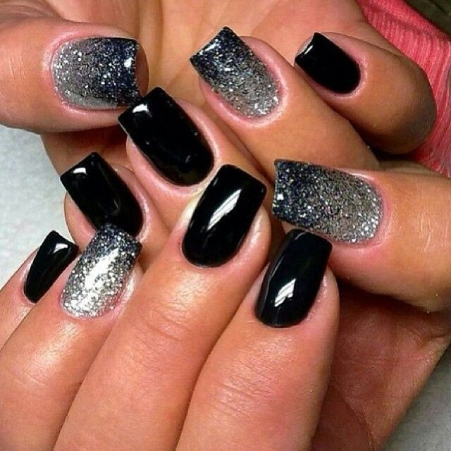 Black And Silver Glitter Nails  Sparkly Bling Nails