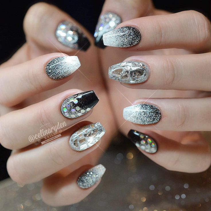 Black And Silver Glitter Nails  199 best Putting on The Glitz Makeup and Fashion With
