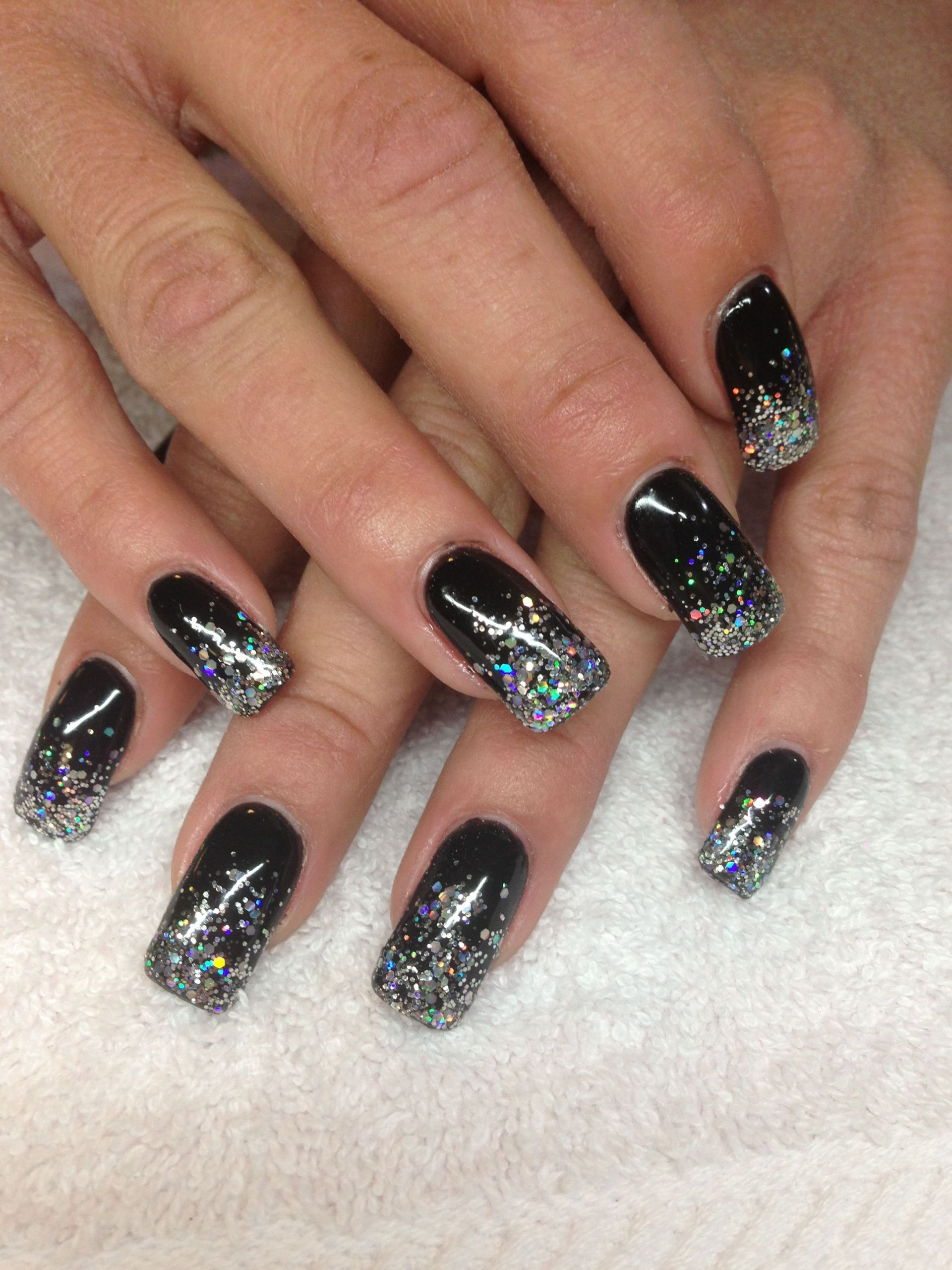 Black And Silver Glitter Nails  Black and silver nails