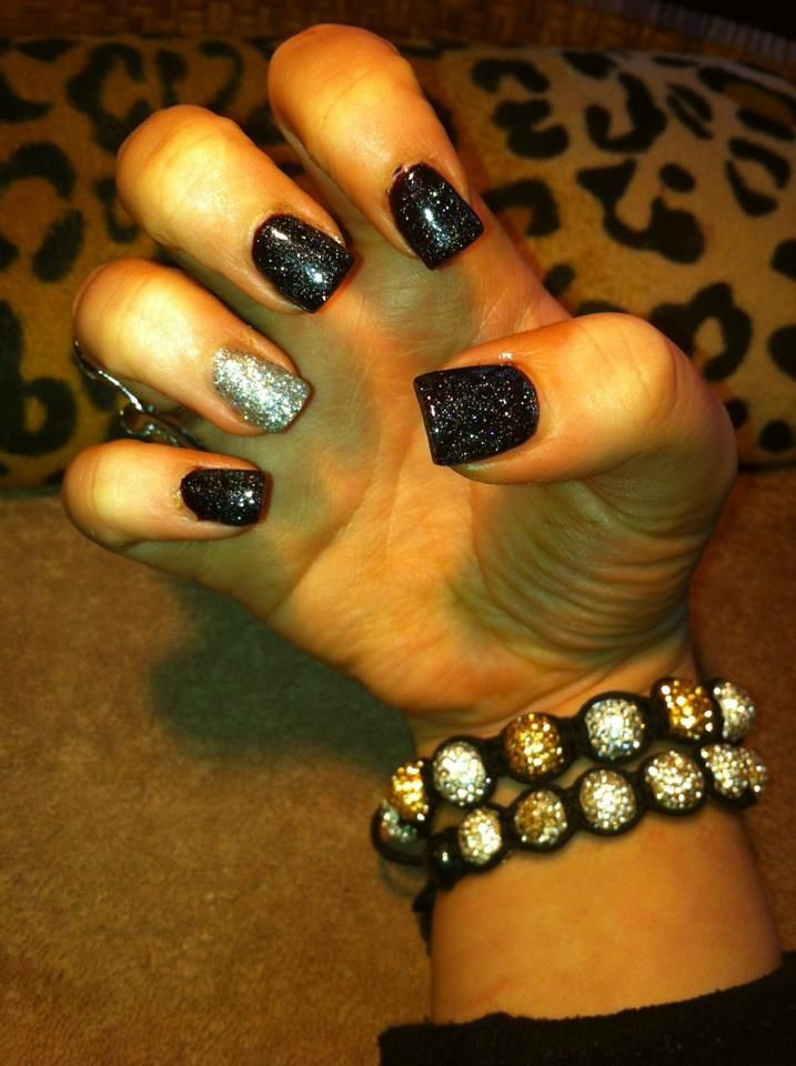 Black And Silver Glitter Nails  Black and silver glitter gelish nails