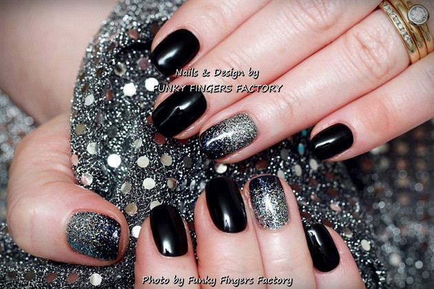 Black And Silver Glitter Nails  Gelish Black and Silver Glitter Ombre Nail Art Gallery