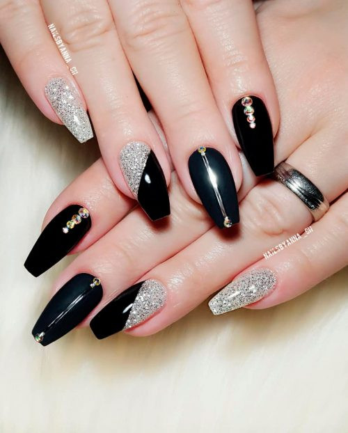Black And Silver Glitter Nails  The Most Beautiful Black Winter Nails Ideas