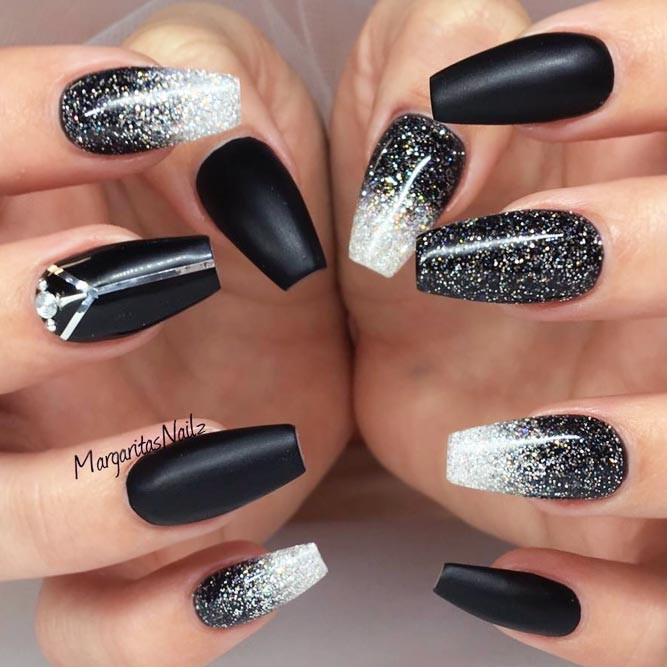 Black And Silver Glitter Nails  27 Fancy Ways To Rock Matte Black Nails