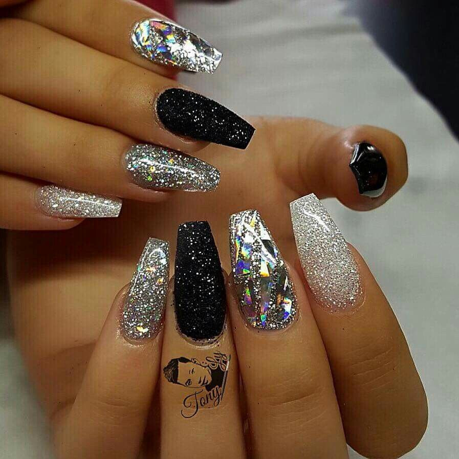 Black And Silver Glitter Nails  47 Playful Glitter Nails That Shines From Every Angle