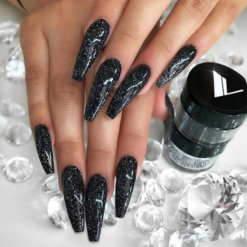 Black And Silver Glitter Nails  33 Black Glitter Nails Designs That Are More Glam Than Goth