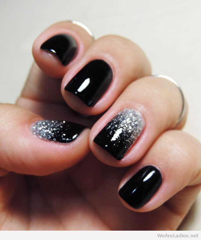 Black And Silver Glitter Nails  We are La s A blog about Beauty Fashion Makeup etc