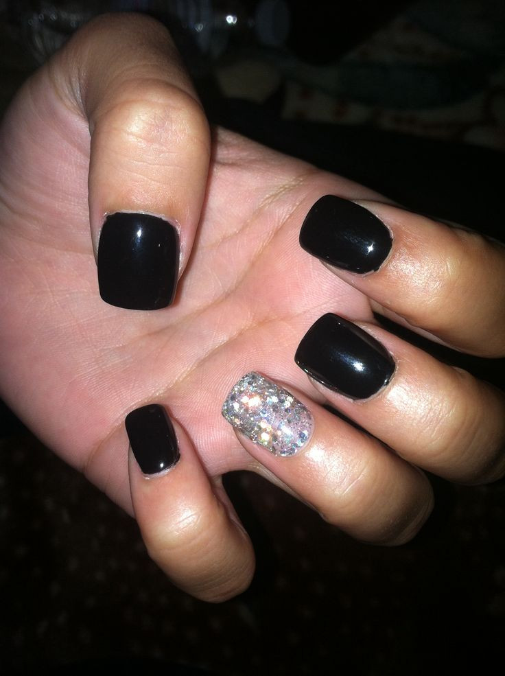 Black And Silver Glitter Nails  Black gel nails with one silver glitter nail