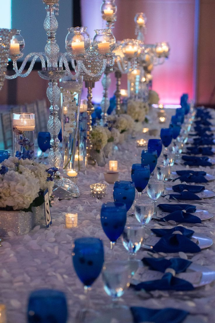 Blue And White Wedding Decorations  Our Royal Blue Wedding Family Styled Seating Reception